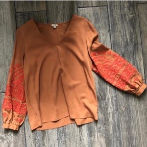 Daniel Cremieux Tan Blouse red embroidery Small
